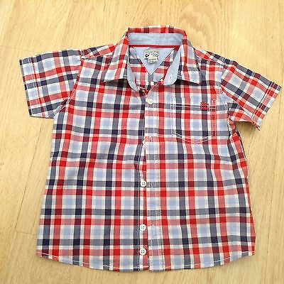 Boy's Red And Blue Checked Shirt Size 18-24 M