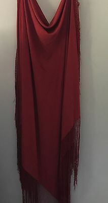 Very Large Vintage 1920s Piano Shawl Red Silk