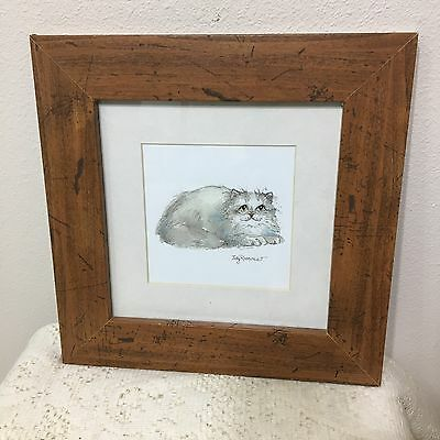 """Print Signed Judy Rossouw Cat Picture - Framed & Glass 11.5"""" x 11.5"""""""