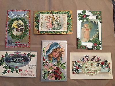 1909 Christmas Cards Lot of 6 (postcards)-Angels, Scenes, Children, Kittens