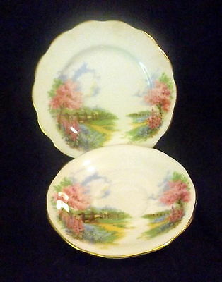 """Queen Anne Side Plate & Saucer """" Meadowside """"."""