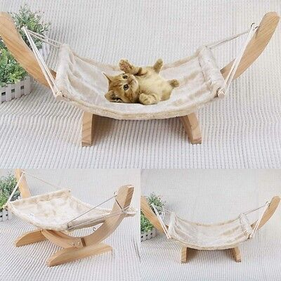 Cat hammock provides comfort wood frame