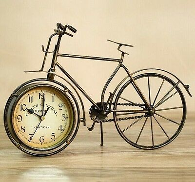 Retro New York Grand Central Metal Bicycle Bike Clock Home Table Clock Ornament