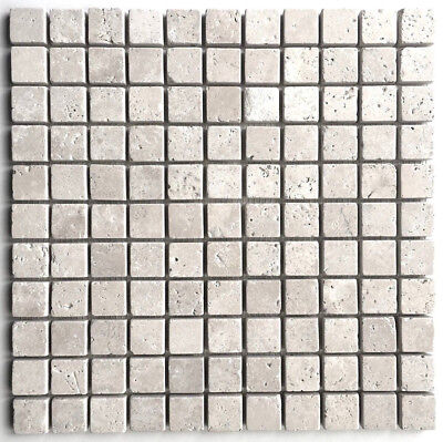 1X1 Light Tumbled Rounded Edge Travertine Wall Mosaic Tile Ivory Backsplash Bath