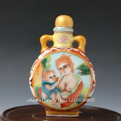 Chinese Hand-painted Classical Elegant Miaojin Porcelain Snuff Bottle Qianlong
