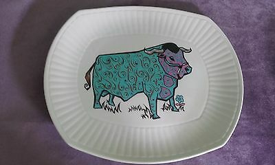 Vintage Beefeater Steak Plate Staffordshire Ironstone Psychedelic Blue Bull Cow