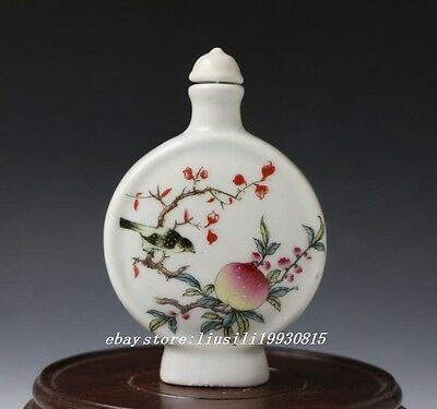 Chinese White Porcelain Hand-painted Bird & Fruit Pattern Snuff Bottle