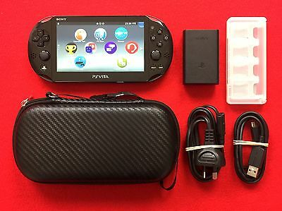 Sony PS Vita Black Console PCH-2002 + Genuine Charger + Case + Cartridge Holder