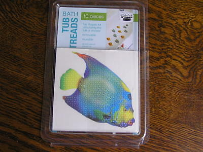 Ginsey Bath Shower or Tub Removable 10~Piece Colorful FISH Treads 2 Types~~NIP!!