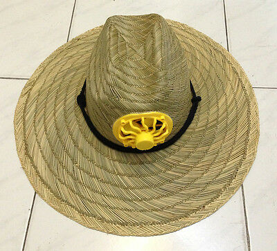 Solar Powered Hat Fan Panel Cap Wide Brim Straw Craft Cool Outdoor Activities N
