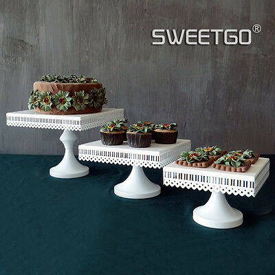 Cake Stand Plate White Metal Pedestal Square For Wedding Birthday Party