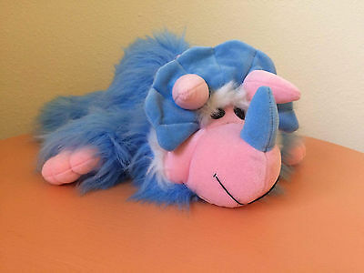 Vintage 1992 Dakin Creative Cartoon Factory Blue Dinosaur Plush Triceratops 15""