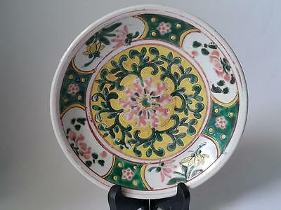 Antique Chinese Ming Swatow Overglaze Painted Flower Scroll Large Dish