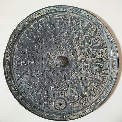 Old and Antique Chinese Han-Tang Dynasty Bronze  'Folk Activities' Mirror