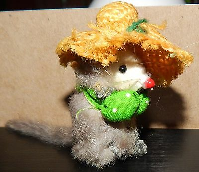 Vintage Original  Fur Toys W. Germany Dressed Mouse in a Straw Hat