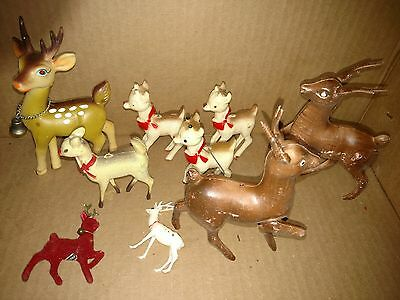 """Lot of 9 Plastic & Cellulite Reindeer 1950-60's 3 Ornaments, Sizes 2.5 to 6"""""""