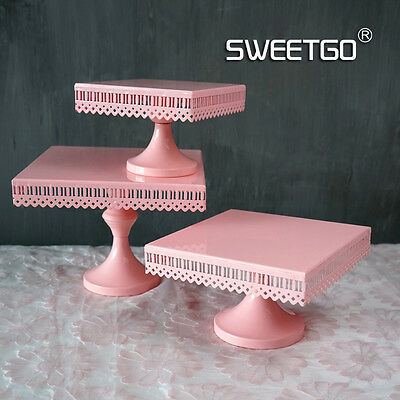 Cake Stand Plate Pink Metal Pedestal Square For Wedding Birthday Party