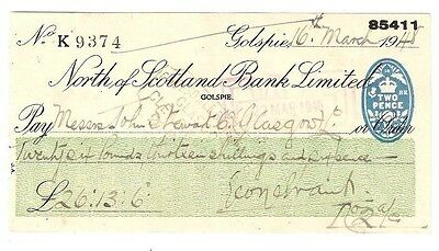 NORTH of SCOTLAND BANK LIMITED cheque - issued 1948