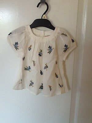 BNWT Next 18-24 months Cream & Blue Floral Smock style top