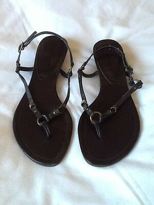 Next Ladies Sandals Brown leather Size 5. Low wedge flipflop/thong sling back