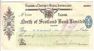 NORTH of SCOTLAND BANK LIMITED,  FALKIRK branch cheque from 1947