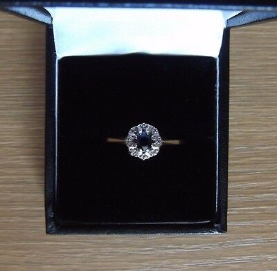 Vintage 9ct Gold Sapphire And Diamond Cluster Ring Size R