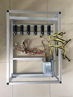 Open Air GPU Mining Rig Frame Case w/ 6 USB Risers 1550w PSU Kit Ethereum ETH