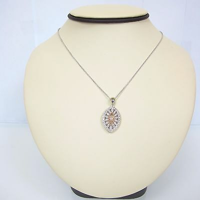 .56 cttw DIAMONDS 14k White Gold/Pink Gold Antique Style Ladies Necklace 15.5''