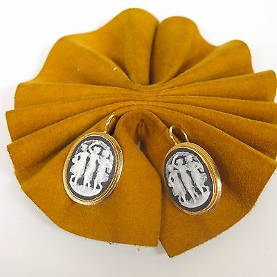18k Yellow Gold The Three Muses ITALY Handmade Coral Vintage Earrings