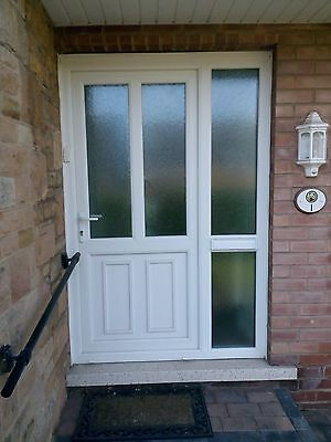 Upvc Double Glazed External Door With Frame With Oak Glass And Side Panel