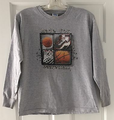 Basketball Long Sleeve T Shirt Top Youth Size Xl Gray Euc
