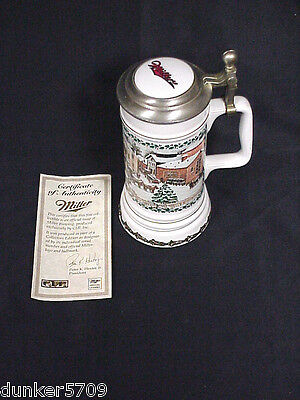 Miller Plank Road Brewery Lidded Stein #1189 4Th In Series Holiday Collection