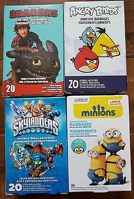 Bandages for KIDS - LOT of 4: Dragons, Angry Birds, Minions, Skylanders