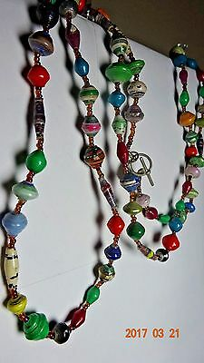 """Uganda Made """"bead For Life"""" Long Strand Of Handmade Beads Great Condition 39"""" L"""