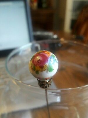 Beautiful Antique Victorian Hand Painted Porcelain Hat Pin