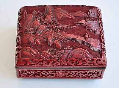Antique China Qing Dynasty Chinese Lacquered Box Etui Case Red Cinnabar Carved