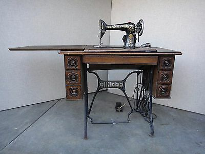 Antique 1916 Singer Sewing Machine 7 Drawer Wood Cabinet Cast Iron Base Electric