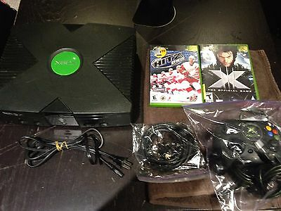 Original Xbox console, hookups, controller and 2 games