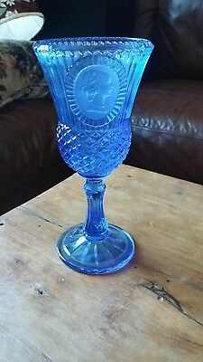 Vintage Avon 1976 Fostoria Blue Drinking Wine Goblet Glass George Washington 8""
