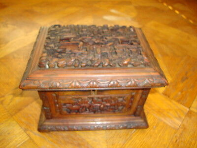 Rare Antique Chinese/Canton Carved Wooden Jewellery Box Village Scene/Figures