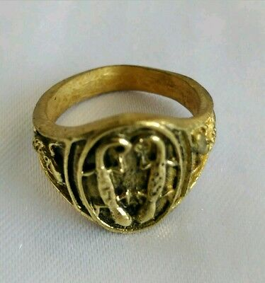 Ring couple Lizard Brass Talisman Wat Jom Gate Thai amulet Charm Lucky Gambling.