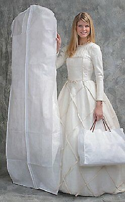 2 Pk Bridal Breathable White Wedding Gown Dress/coat Garment Bag With Gusset