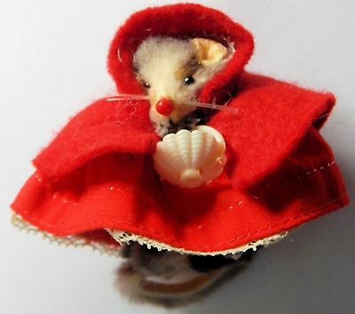 Vintage Original  Fur Toys W. Germany Dressed as Red Riding Hood