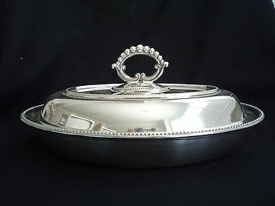 Silver Plated Oval Entree Dish & Cover - Reid & Sons - Newcastle On Tyne
