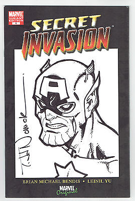 Secret Invasion #1 Captain America Skrull Original Art Sketch By Todd Nauck !!