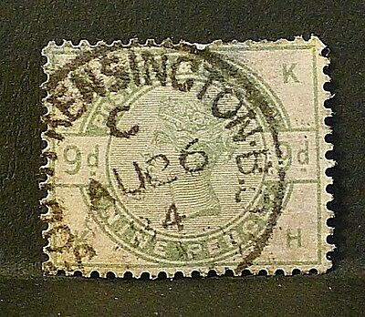 GB Stamps sg195 9d dull green (K-H) - Good used