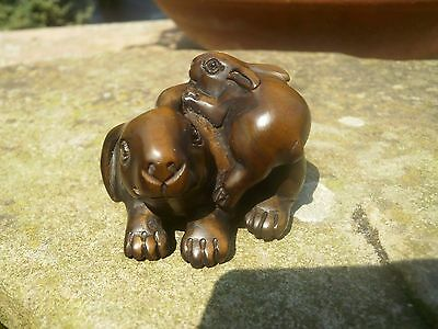 Hand Carved wood netsuke Rabbit or Hare & baby, vintage / antique style treen
