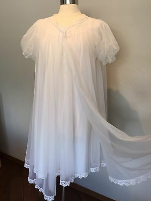 Vintage Shadowline Chiffon Peignoir Babydoll Nightgown White Bridal set S M