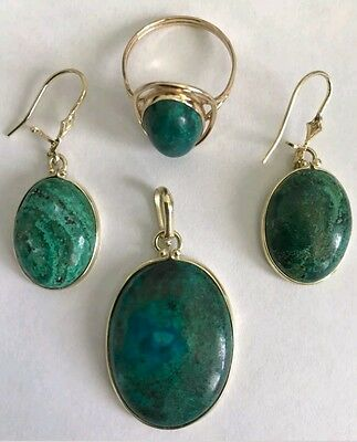 Antique Vintage 14K Yellow Gold Malachite Pendant, Earring, 8.75 Size Ring Set