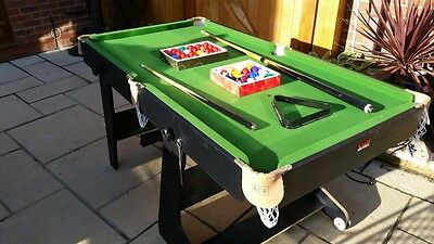 5ft Folding Snooker and Pool Table with two sets of balls and cue